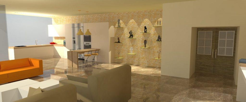 הדמיה תלת מימדית  - תכנון ועיצוב פנים לדירה בתל אביב