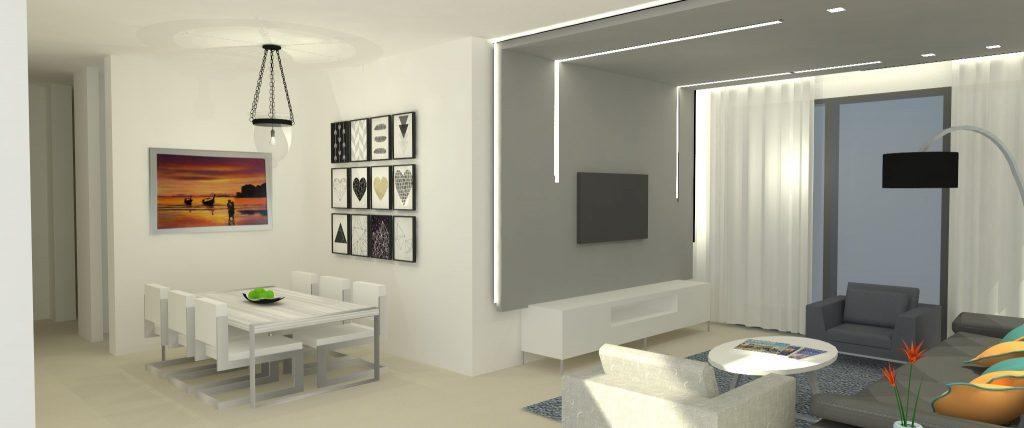 הדמיה תלת מימדית - תכנון ועיצוב פנים לדירה בראש העין