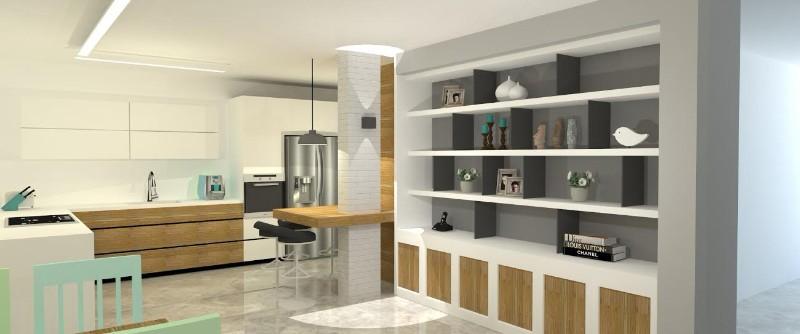 הדמיה - מבט לכניסה ולמטבח