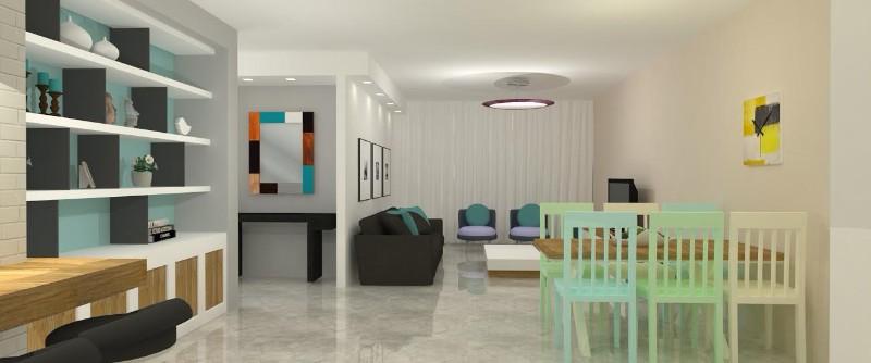 הדמיה מבט לסלון עם כחולים